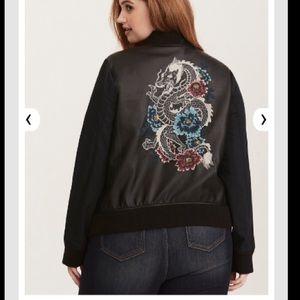 torrid Jackets & Coats - Mixed Fabric Embroidered Bomber Jacket